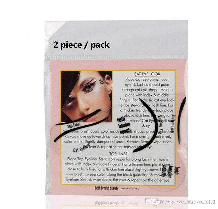 LANBENA 2 스타일 패션 아이 라이너 템플릿 아이 라이너 카드 아이 라이너 스텐실 아이 메이크업 세트 메이크업 브러쉬 도구 아이 라이너