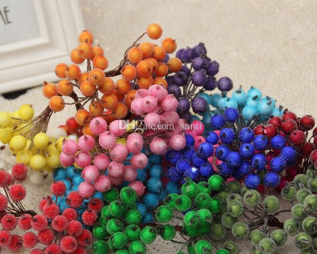 New Arrive /40head Mini Fake Fruit glass Berries Artificial pomegranate red cherry Bouquet Stamen Christmas Decorative Double heads