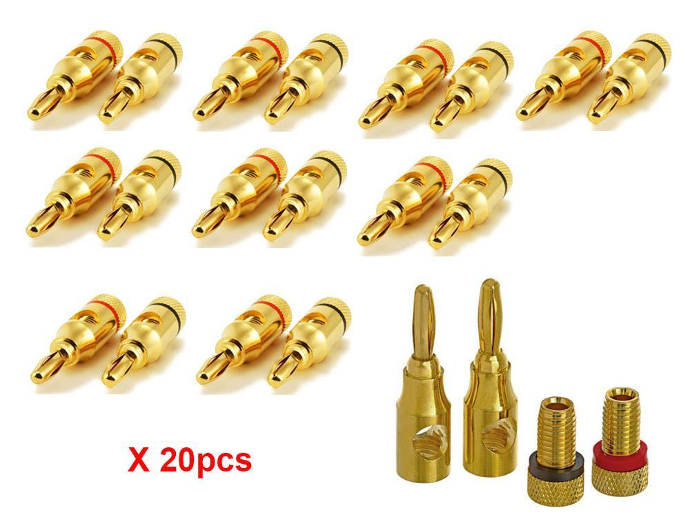 Freeshipping 200pcs/lotHigh-Quality Gold Plated Musical Amplifier Speaker Cable Wire Pin Banana Plug Connector w/Color Coded, Open Screw
