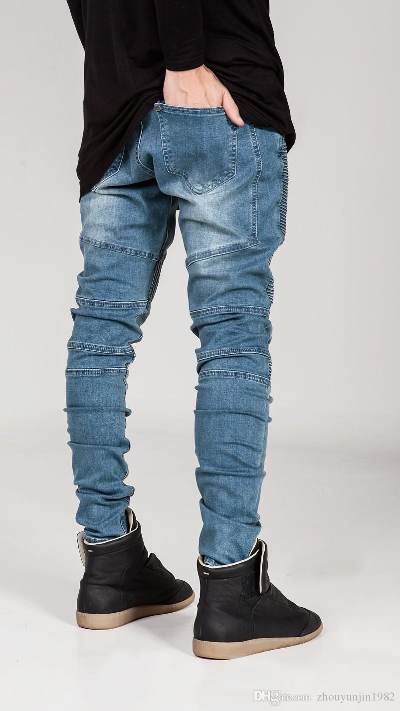 2016 Hi-Sokak Mens Biker Jeans Motosiklet Slim Fit Yıkanmış Siyah Gri Mavi Moto Denim Pantolon Joggers Sıska Erkekler Için