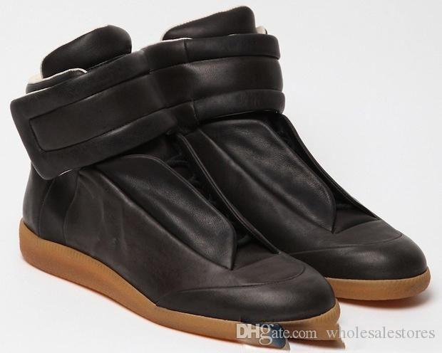 2018 martin margiela marca zapatos hombre moda cuero genuino de alta top para hombre zapatos ocasionales con cordones hombres entrenadores planos zapatos hombres botines