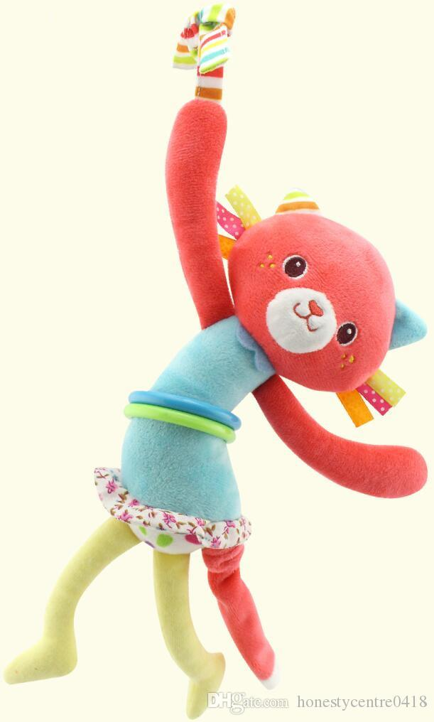 new arrival Animal Hand Bell Baby Plush Pram Car Stroller hanging Rings pull shock Rattles Toys For Baby Development Gifts