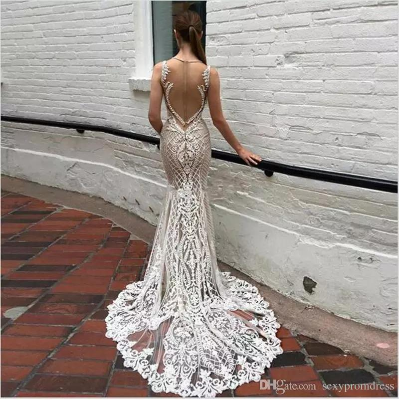 Lace Deep V Neck Evening Gowns Sparkly Beaded Sheer Backless Mermaid Prom Dresses See Through Sweep Train Party Vestidos Custom Made