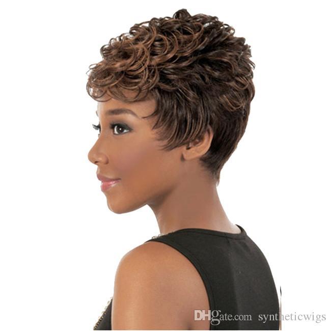 Siyah kadınlar için woodFestival kısa peruk mix renk afro kinky kıvırcık peruk sentetik elyaf saç peruk Afro-amerikan