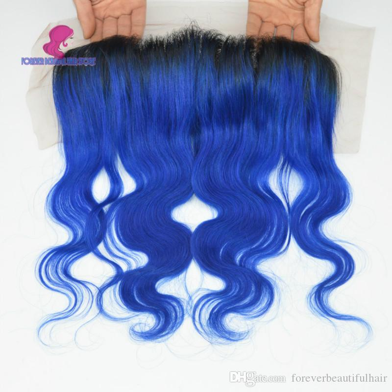 Ombre lace frontal 13x4 Peruvian hair body wave frontal #1b/blue/red/green/purple Frontal closure bleached knots swiss lace
