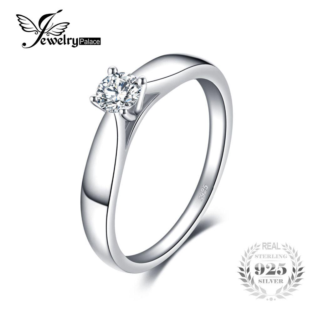 f5ddf3a76549 Compre JewelryPalace Lovely 0.2ct Anillo Solitario De Compromiso Genuino 925  Joyería Plateada Rodio De La Plata Esterlina Para La Muchacha A  20.48 Del  ...