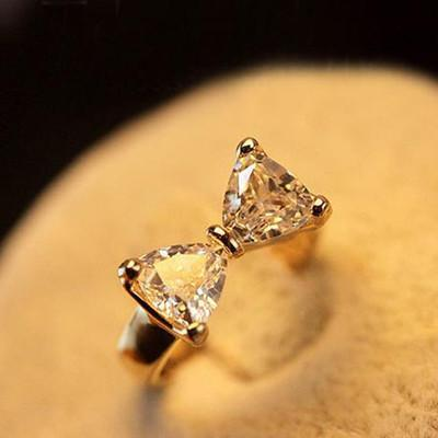 adjustable ring rhinestone rings gold bow