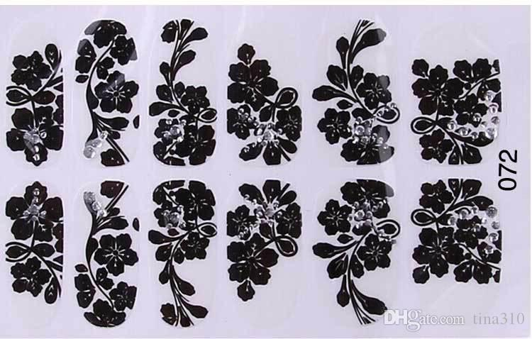 Nuevas ventas de comercio exterior pegatinas de esmalte de uñas de encaje negro Calcomanías Nail Art Stickers Calcomanías Manicura 16styles 12 uñas de palo 4159