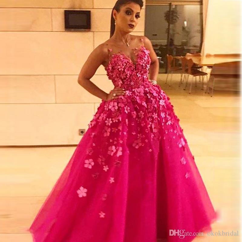 Indian Evening Dresses 2017 Hot Pink Ball Gown Prom Dresses Cap ...