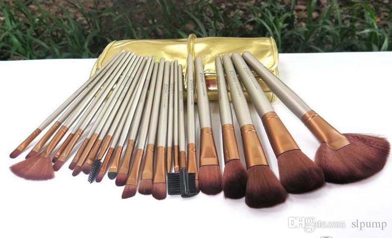 مجموعة فرش ماكياج فرشاة التجميل كيت أدوات ماكياج المهنية فرش مقبض خشبي الشعر الاصطناعية ماكياج فرشاة الذهب الحقيبة الجلدية