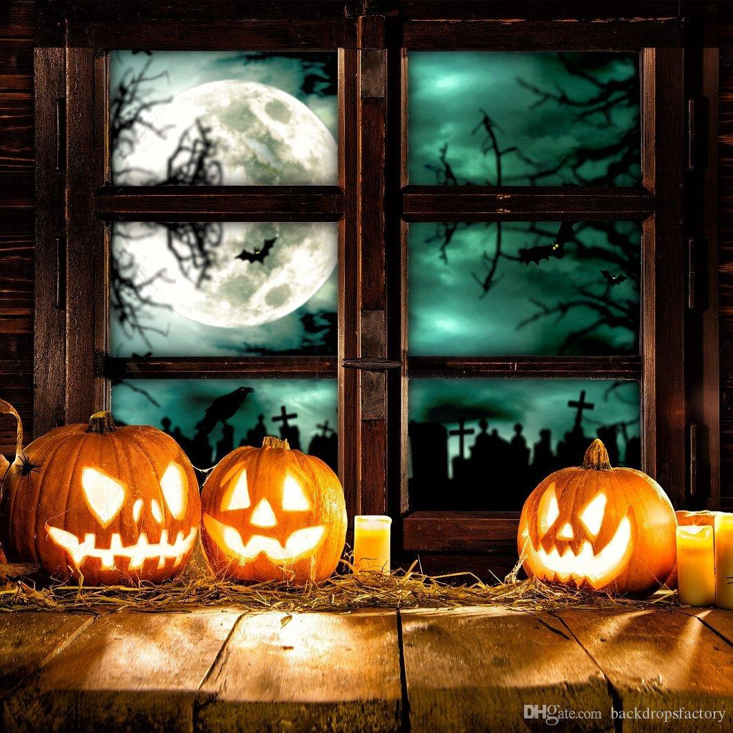pumpkin lanterns halloween backdrops for photography full moon night outside window children kids photo studio background wood plank floor halloween kids