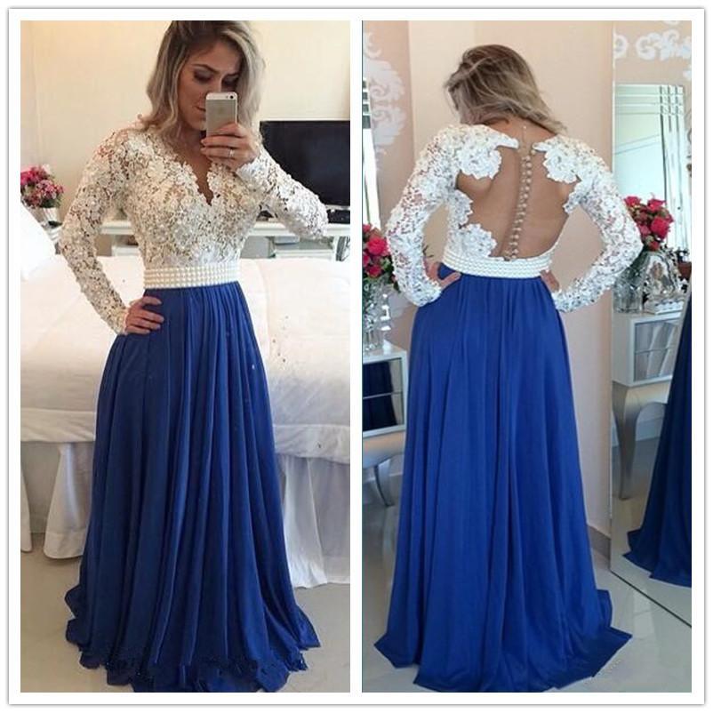 Mangas compridas rendas pérolas vestidos de baile de chiffon v pescoço uma linha branca e azul vestido de noite