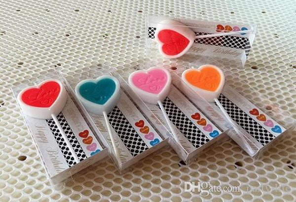 Creative double color heart shape candle Happy Birthday Candles Toothpick Cake Candles Kids Parties Decor