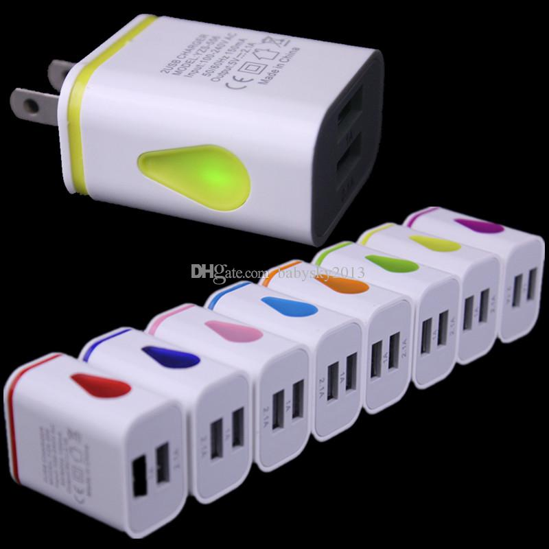 Light Up Water-drop LED Dual USB Ports Home Travel Power Adapter 5V 2.1A + 1A AC US EU Plug Wall Charger For iPhone Samsung HTC LG Tablet