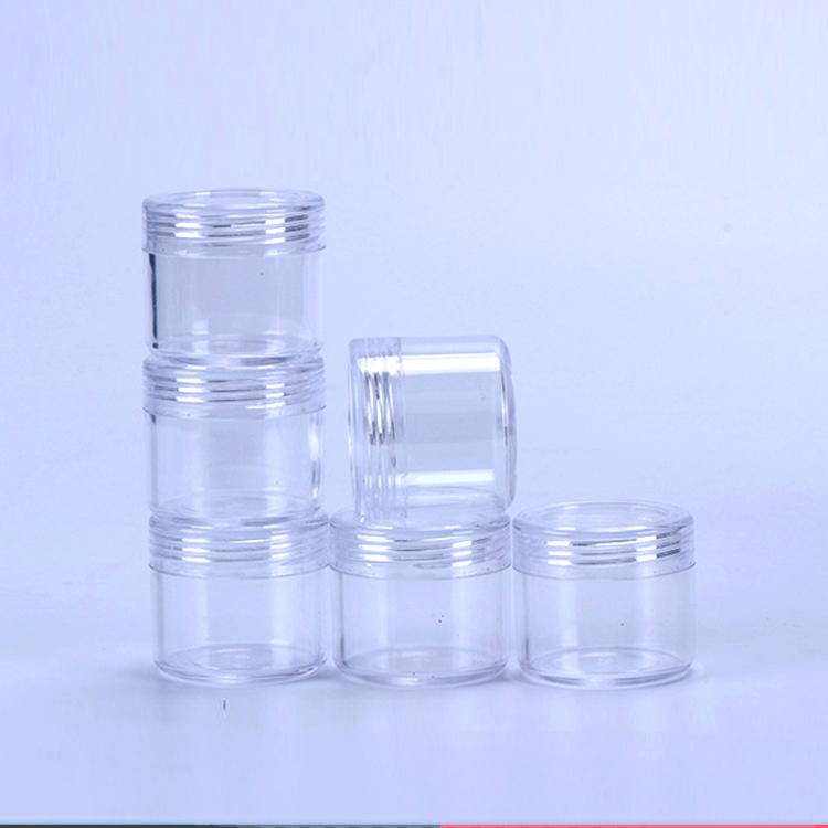Cosmetic Empty Jar 20ML/20Gram Transparent Small Round Bottle Clear Plastic Pot Container For Face Cream Eyeshadow Sample Nail Art Storage