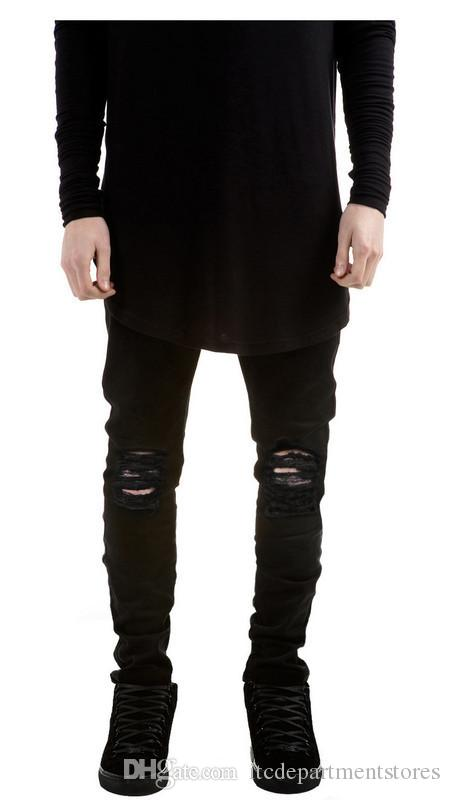 449ee86bf28 2019 New Black Ripped Jeans Men With Holes Super Skinny Famous Designer  Brand Slim Fit Destroyed Torn Jean Pants For Male From Itcdepartmentstores