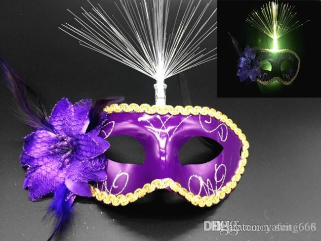 free shipping whilesale hot selling Hot luminous feather masks masquerade mask mask wholesale holiday items, costume party supplies