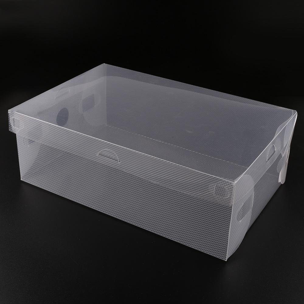 Hot Sale 10Pcs 27.5cm Transparent Clear Plastic Shoes Storage Boxes Foldable Shoes Case Holder