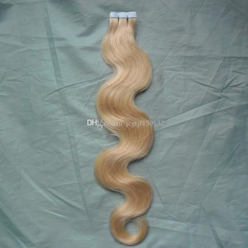 Tape In Hair Extensions Remy 613 Bleach Blonde Brazilian Hair Skin Weft Tape Hair Extensions 100g