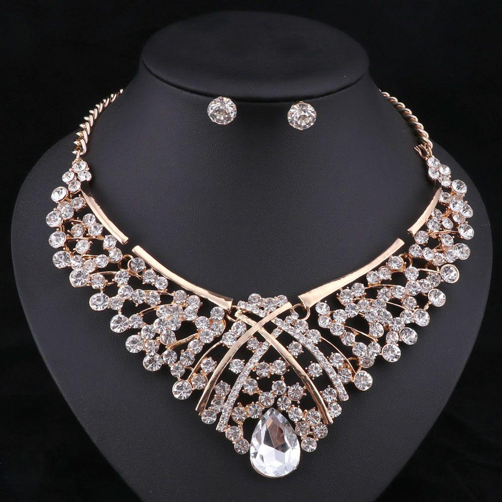Африка бусины комплект ювелирных изделий мода нигерийский свадебные наборы ювелирных изделий для невест позолоченные ожерелье серьги наборы 5 цветов