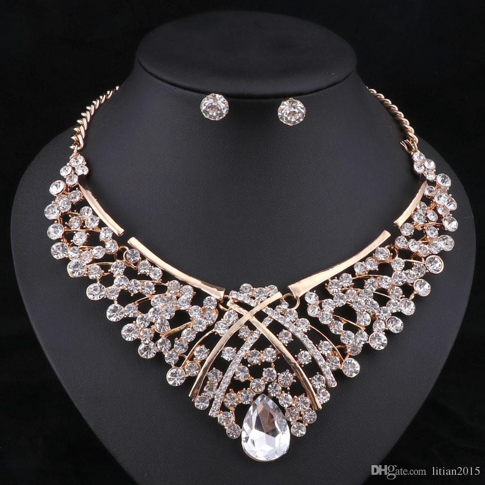 África Beads Jewelry Set Moda Casamento Nigeriano Conjuntos de Jóias Para Noivas Colar De Banhado A Ouro Brincos Conjuntos 5 Cores