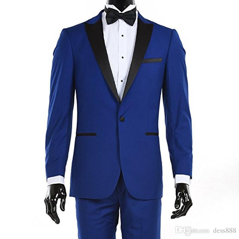Compre Venta Caliente Por Encargo Trajes Azules Reales Trajes De Hombre  Negro De Solapa Smil Fit Trajes De Novio De 2 Piezas Chaqueta + Pantalones  L627 A ... b8727bf42df