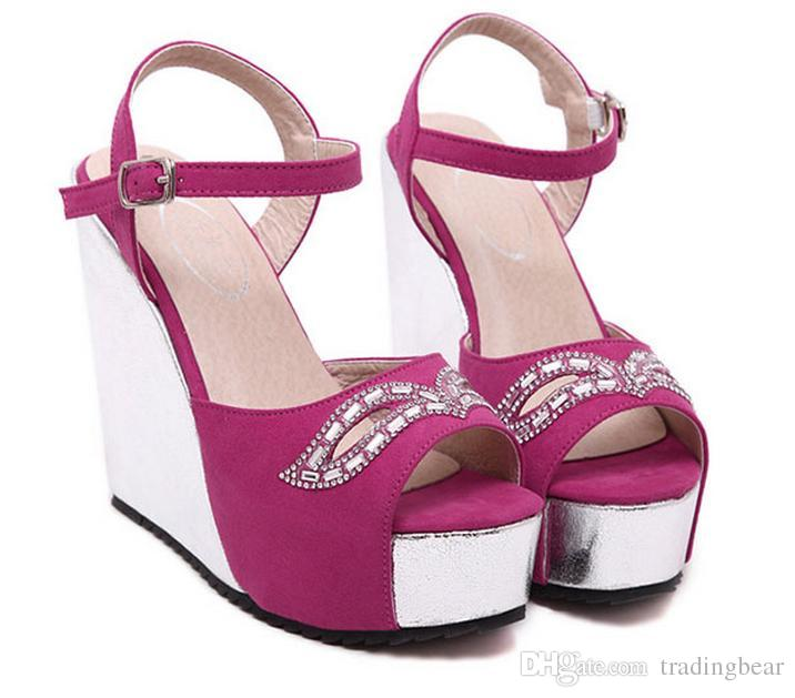 Wedding Fuchsia Sparkly Glitter Gold Prom Dress Heels Ankle Strap Wedge  Heel Sandals Size 34 40 41 Cute Shoes Green Shoes From Tradingbear 9b03ac2dfa38