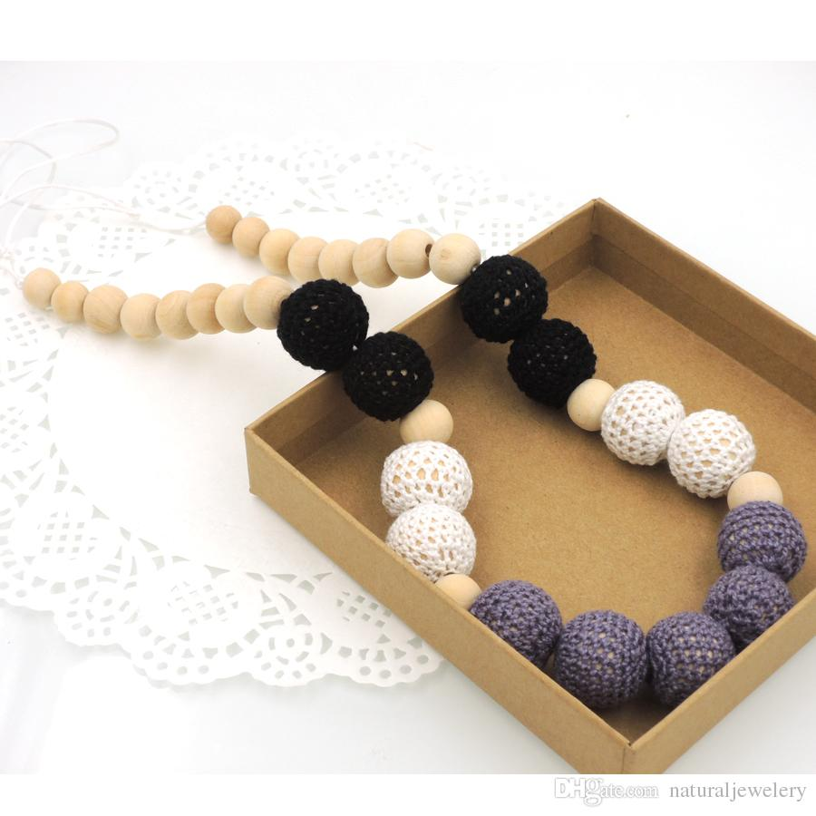 Chunky Teething necklace Classic black Cream Grey crochet beads wooden Crochet Nursing teether baby toy breast feeding eco friendly NW1807