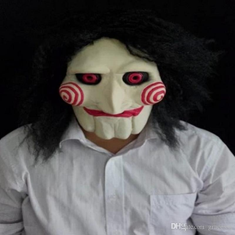 saw movie jigsaw puppet mask halloween full mask head latex texas chainsaw massacre terror movie mask mysterious puppet mask for masquerade balls mask for - Puppet Halloween