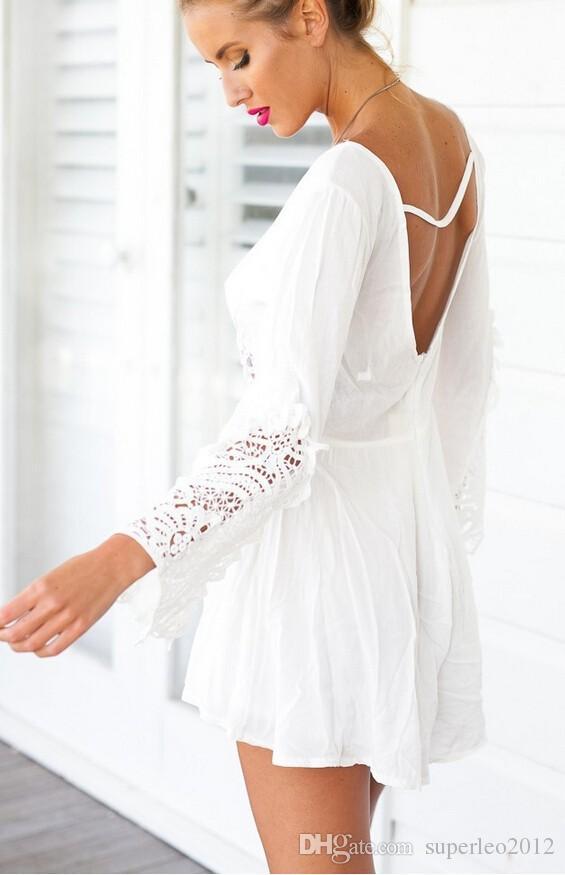 Neue Frauen-Spitze-Taille aushöhlen kurze Overall-Spielanzug-langärmlige weiße Spitze Chiffon V-Ansatz-Kurzschluss-Hosen-reizvoller Backless Sommer-Overall