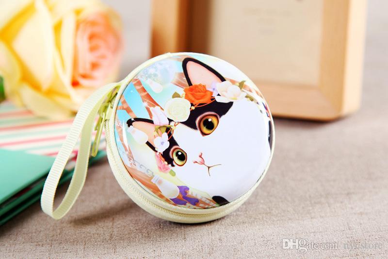 Niedlichen Cartoon Mini Brieftasche Tasche Frauen Geldbörse Katze schöne Tiere Weißblech Metalllegierung Reißverschluss Münztüte Chrismas Geschenk für Mädchen