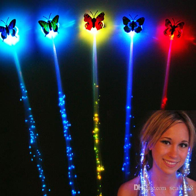 LED Butterfly Flash Braid Women Colorful Luminous Hair Clips Fiber Hairpin Light Up Party Halloween Night Xmas Decor Button Battery HH-B14