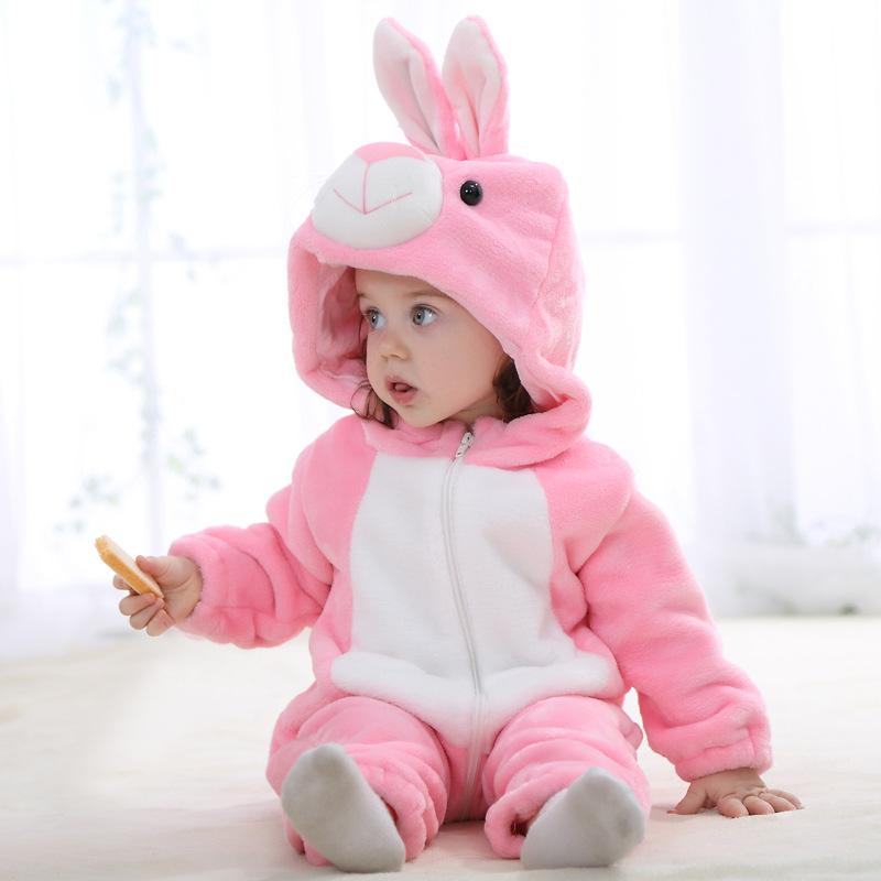 Heißes neues Baby-Spielanzug-Mädchen kleidet Baumwollflanell-gesteppten Overall-Karikatur-nettes Kaninchen-Tierspielanzug-Baby-Kleidung Rosa JY0526