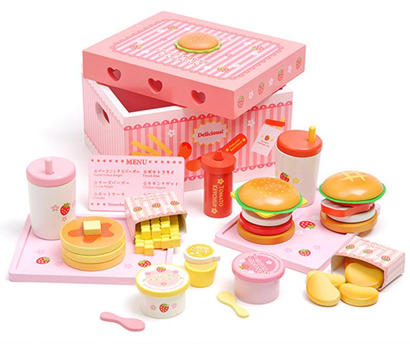 Baby Toys Mother Garden Strawberry Simulation Hamburger Box Wooden Toy Potato Chips Cola Food Kitchen Child Educational Gift Felt Finger Puppet Template
