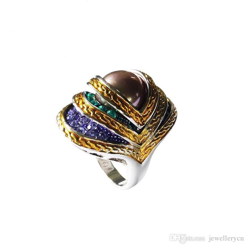 여자를위한 고품질 보석 칵테일 반지 에나멜 눈 반지 천연 조개 진주 반지 보석 골동품 반지 | RN-386B