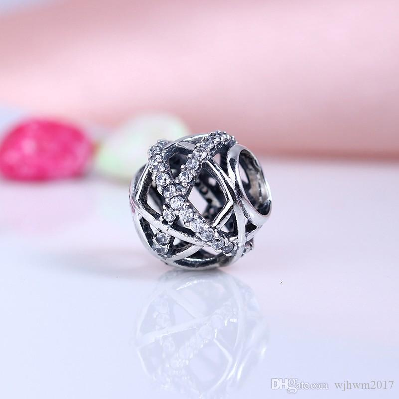New Original 925 Sterling Silver Pave Crystal Christmas Galaxy Openwork Charm Beads For DIY Brand LogoBracelets Jewelry Making Accessories