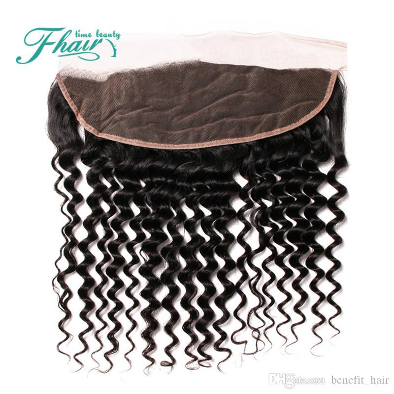 Cheap 8A Indian Deep Curly Lace Frontal Closure With Baby Hair 13X4 Human Hair Lace Frontal Closure DHL