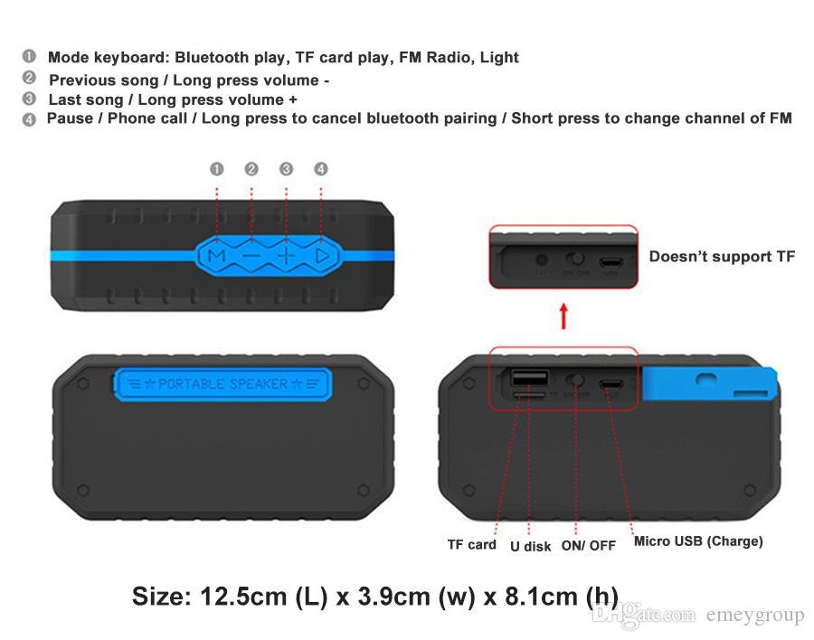F3-D Outdoor Portable Bluetooth Speaker Rugged Ip65 Waterproof Speakers with 3w Powerful Driver/built-in Mic wireless Speaker Hook