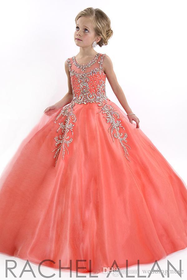 새로운 2020 년 어린 소녀 미인 대회 드레스 청소년을위한 공주 얇은 명주 그물 보석 크리스탈 구슬 산호 어린이 꽃 소녀 드레스 생일 드레스