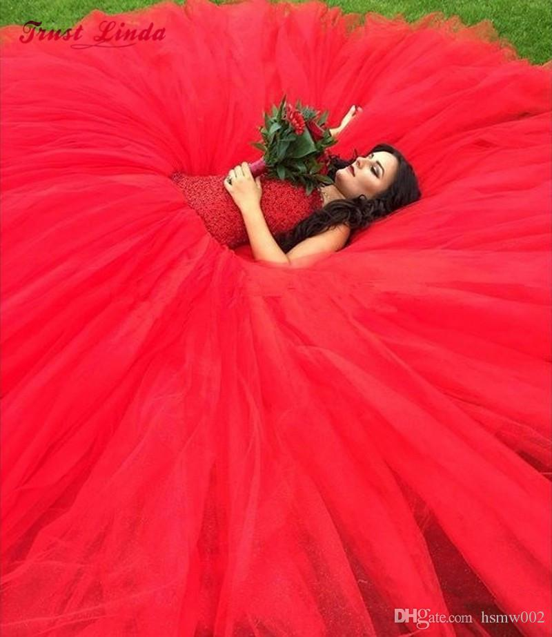 Robe De Mariage Princess Red Ball Gown Wedding Dress Bling Bling Luxury Crystals Bridal Wedding Gowns Custom Made Vestido De Noiva