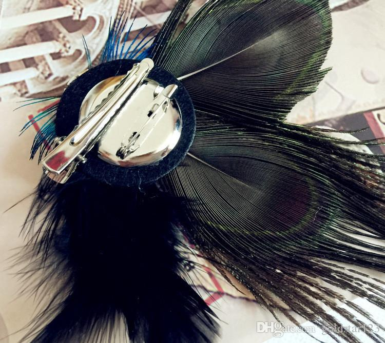 Peacock Feather Hair Clips Hairpin Sparkling Rhinestones Bridal Wedding Hair Clip Brooch Head Accessory