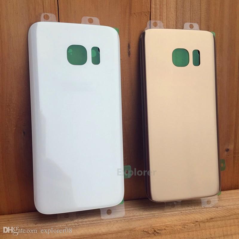 Batterie-Tür-rückseitige Abdeckungs-Glaswohnung + anhaftender Aufkleber für Samsung-Galaxie S7 G930 G930F G930T gegen S7 Rand G935 G935F G935T /