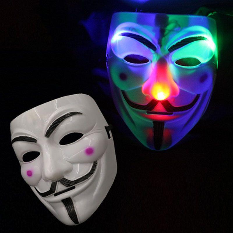 LED blinkt V Maske für Vendetta Masquerade Party Masken Leuchten Phantasie Cosplay Karneval Kostüme
