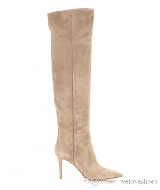Heißer Verkauf über den Kniestiefel weinrot Wildleder High Heel Stiefel Frau spitz Zehen hohe Stiefel Lederstiefel