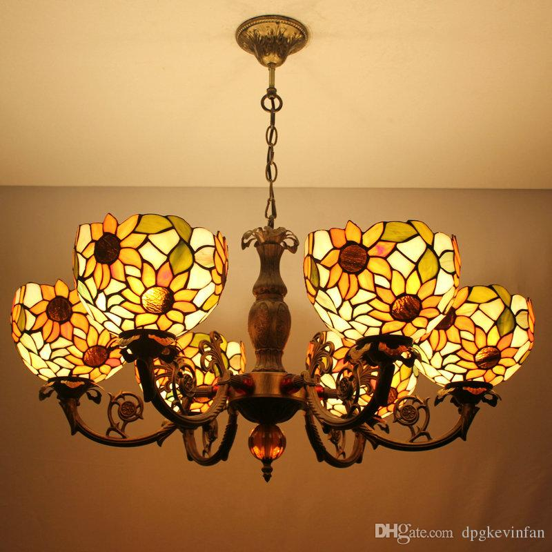 37 Inch 6 Heads Retro Tiffany Pendant Lights Spider Shade Living Room Dining Light Fixture Yellow