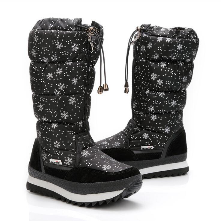 Size 35-42 Fashion Women Boots Plush Warm Snow Boots Ladies Winter Ankle Boots Waterproof Zipper White Colour Snow Flower Botas