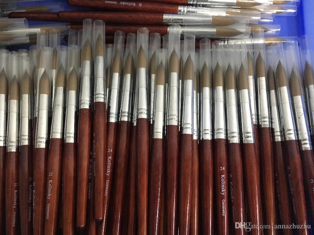 جولة شارب # 14 # 16 # 18 # 20 # 22 # 24 جودة عالية kolinsky السمور القلم مع أحمر الخشب مقبض الاكريليك مسمار فرشاة لالمهنية اللوحة مسمار صالون