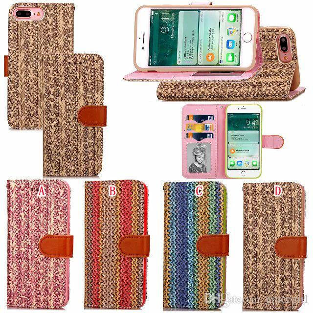 woven knit flower flip wallet leather case for iphone 7 plus i7woven knit flower flip wallet leather case for iphone 7 plus i7 iphone7 fashion carbon fiber photo frame cards stand pouch tpu phone cover phone case custom