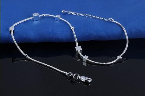 Mode Sterling Silver 925 Square Block Femmes Cheville Bracelets Cheville Pieds Chaîne Sandales Aux Pieds Nus