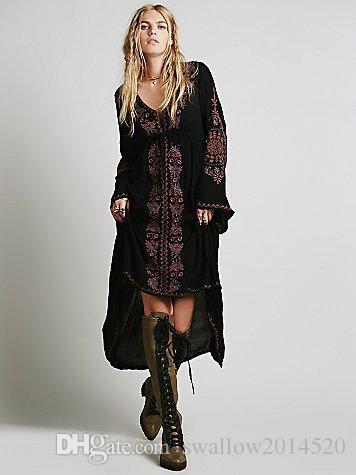 Women Vintage Ethnic Flower Embroidered Cotton Tunic Casual Long Dress Hippie Boho People Asymmetric High Low